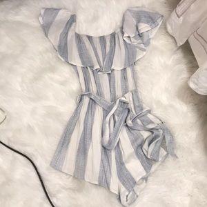 LF Blue and White Striped Seek the Label Romper
